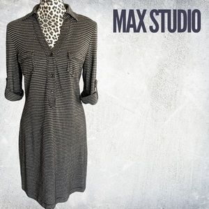 Max Studio 3/4 sleeve knit collared dress - M